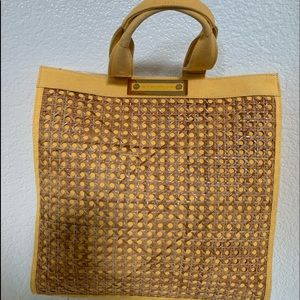 Tory Burch Straw Canvas Tote